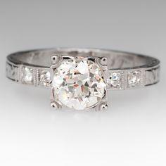 1 Carat Old European Diamond 1930's Platinum Antique Engagement Ring