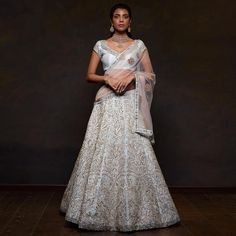 Featuring a soft sky blue panelled raw silk lehenga with vintage ivory thread embroidery that draws inspiration from wall and ceiling… Raw Silk Lehenga, Shyamal And Bhumika, Indian Bridal Outfits, Lehenga Style, Indian Wear, Indian Style, Half Saree, Indian Designer Wear, Indian Beauty
