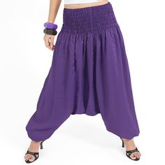 Unisex Harem pants. One size fits all. You can wear in many occasions, casual wear, yoga wear, maternity wear, relax at home, travel etc. If you are looking for some pants that you can wear everywhere, comfortable, relax and Easy to wear. This pant is Answer!!