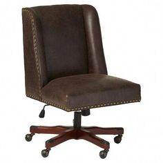 Bring traditionally elegant style to your office or writing nook with the Brennan High-back Office Chair. Handsome accents like compact wings, nail head trim, and faux leather upholstery lend classic flair Luxury Office Chairs, High Back Office Chair, Luxury Chairs, Office Chair Without Wheels, Upholstered Swivel Chairs, Chair Upholstery, Chair Cushions, Chair Pads, Comfortable Office Chair