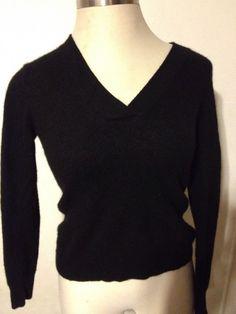Nicole Miller Womens Black 100% Cashmere Sweater VNeck Long Sleeve Size Large #NicoleMiller #VNeck #cashmere #cashmeresweater #black #large #sweater