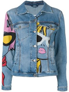 Ermanno Scervino Painted Denim Jacke Ermanno Scervino gemalt d … - Kleidung Painted Denim Jacket, Painted Jeans, Painted Clothes, Denim Paint, Hand Painted, Jean Jacket Outfits, Blue Jean Jacket, Jacket Style, Jeans Levi's