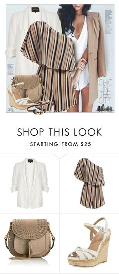 """One Shoulder Playsuit"" by breathing-style ❤ liked on Polyvore featuring River Island, Chloé and Charles by Charles David"