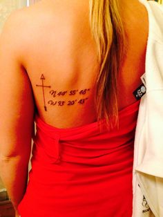 My new tat! Coordinates to my childhood home with a compass/cross/arrow :) <3