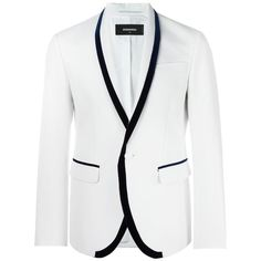 Dsquared2 shawl collar suit jacket (€1.815) ❤ liked on Polyvore featuring men's fashion, men's clothing, men's outerwear, men's jackets, white, mens white jacket and mens shawl collar jacket