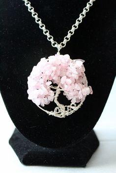 Rose Quartz Tree of Life Necklace Handmade by LINDABJEWELRYDESIGNS, $35.00