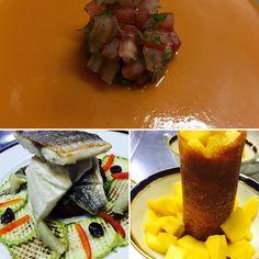 Soupe de tomates, filets de bar carpaccio de courgettes , tuile craquante à la mangue