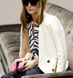 patterned blouse + white blazer + pink pumps