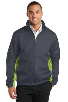 Port Authority® Core Colorblock Wind Jacket. With colorblock side panels and a subtle grid texture, this contemporary jacket protects against wind and rain. A jersey lining adds warmth to this exceptionally priced, wear-anywhere style. Available in Battleship Grey/Black, Battleship Grey/Charge Green, Black/Battleship Grey, Black/Imperial Blue and Dress Blue Navy/Battleship Grey. #outerwear #jackets