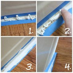 How to Caulk a Perfectly Straight Line — 1) Squirt caulk into taped off area. 2) Smooth caulk with fingertip. 3) Continue smoothing. 4) While caulk is STILL WET, slowly & gently pull up the tape.