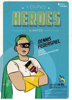 Für die Berufsweltmeisterschaft in SAO PAOLO - BRASILIEN entstand die illustrierte Kampagne YOUNG HEROES WANTED. Mehr unter: www.rotwild.it/blog Web Design, Baseball Cards, Blog, Italia, Advertising Agency, Brazil, Design Web, Blogging, Website Designs