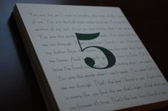 Wedding Reception Table Cards- Printed with song lyrics and table number on front and back