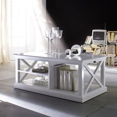 NovaSolo 3-shelf White Mahogany Coffee Table | Overstock.com Shopping - The Best Deals on Coffee, Sofa & End Tables