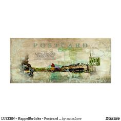 Shop LUZERN ~ Kappellbrücke - Postcard / Rackcard Rack Card created by swissLove. Rack Card, Landscape Prints, Retro Ideas, Wedding Programs, Vintage Gifts, Paper Design, Card Stock, Card Making, Greeting Cards