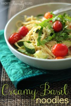 Creamy Basil Noodles from favfamilyrecipes.com #healthyrecipes
