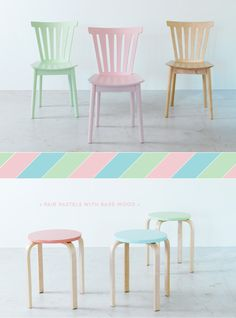 Pastel chairs and stools