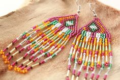 Bohemian Seed Bead Earrings,Tribal Seed Beaded,Ethnic Beaded Earrings,Native American Bead Work,Gypsy Style Fringe Earrings,Native Indian