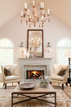 New living room chairs fireplace fire places Ideas Living Room Decor Colors, Living Room Furniture Layout, Living Room Mirrors, Cozy Living Rooms, New Living Room, Living Room Modern, Living Room Chairs, Dining Room, Tall Fireplace