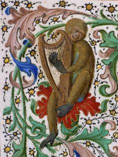 Harping monkey, 'Gillion de Trazegnies', Flanders after 1464 (LA, Getty, Ms. 111, fol. 150v)