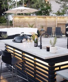 A little champagne and grilled salmon on a nice summer evening sounds like a rea. by Gift Set Co. Outdoor Spaces, Outdoor Living, Kitchen Decor, Kitchen Design, Gifts For Cooks, Backyard, Patio, Grilled Salmon, Summer Evening