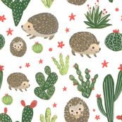 Prickly Friends - Hedgehog & Cacti by dolls_in_trees