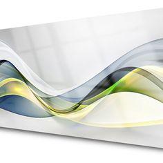 Inexpensive Backsplash Ideas, Green And Grey, Blue Grey, Kitchen Feature Wall, Kitchen Splashback Tiles, Art Blue, Blue Gray Paint, Glass Wall Art, Glass Kitchen