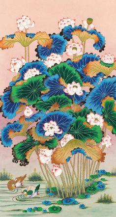 대한민국민화공모대전 - 박영실 - 연화도 Korean Art, Asian Art, Korean Painting, Geisha Art, Tibetan Art, Blue Butterfly Wallpaper, Traditional Paintings, Beautiful Paintings, Japanese Art