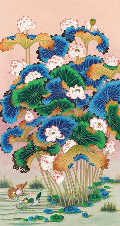 Korean Art, Asian Art, Traditional Paintings, Traditional Art, Blue Butterfly Wallpaper, Korean Painting, Geisha Art, Tibetan Art, Beautiful Paintings