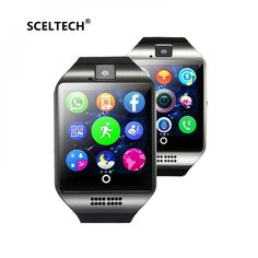 1867e85bd SCELTECH Bluetooth Smart Watch Men Q18 With Touch Screen Big Battery  Support TF Sim Card Camera for Android Phone Passometer