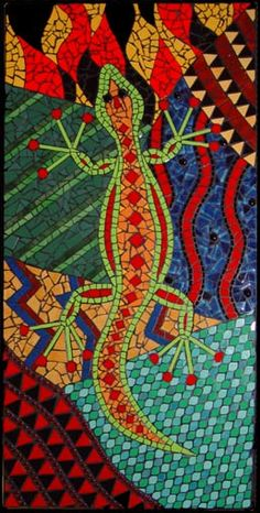Depiction of Gecko walking through colourful abstract landscapes mosaic mural created in Ceramic tiles by Brett Campbell Mosaics