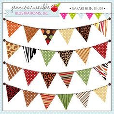 Safari Bunting - Decorative Clipart Graphics for Commercial or Personal Use, Safari Graphics, Safari Jungle, Garland Bunting Clipart on Etsy, $5.00