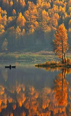 photo: swansong-willows:  (via Satka, Russia — Travel 365) ... Autumn color reflects from lake ...