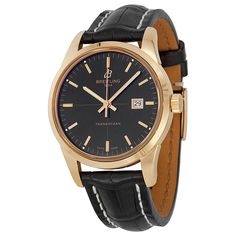 Breitling Transocean Black Dial Rose Gold Black Leather Automatic Men's Watch R1036012-BA92BKCT - Transocean - Breitling - Watches  - Jomashop