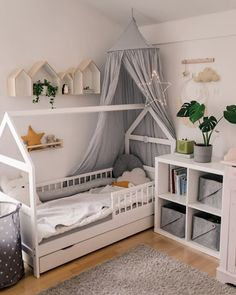 Gone are the days where boys' rooms were blue and girls'pink. Unisex rooms and colors like grey, beige, green, mustard are appealing to many parents. We love this room, check out our mobile bed canopy tent in our store. Baby Room Boy, Baby Bedroom, Nursery Room, Girl Room, Girls Bedroom, Childrens Room Decor, Baby Room Decor, Gender Neutral Bedrooms, Ikea Bed
