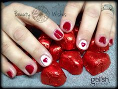 Gelish Good Gossip and Arctic Freeze love hearts ❤️ #valentinesnails #valentine #heartsnails #heartnails #gelish #gelishgoodgossip #gelisharcticfreeze www.beautywishes.co.uk