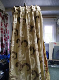 1368A Beige Silk Type Curtains with Embroidered Velvet Patterns. :: Full Details - £237.60