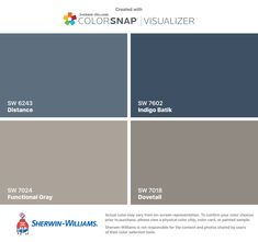 I found these colors with ColorSnap® Visualizer for iPhone by Sherwin-Williams: Distance (SW 6243), Functional Gray (SW 7024), Indigo Batik (SW 7602), Dovetail (SW 7018).
