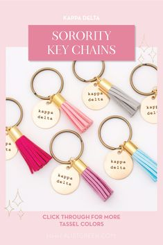Sorority tassel keychains are the easiest gift for any celebration: Recruitment, Bid Day, Back to School & Big/Little. Spoil your new sorority girl with our simple and trendy tassel keychain! Kappa Delta Gifts | Kappa Delta Bid Day | KD Keychain | Kappa Delta Key Chain | Sorority Bid Day | Sorority Recruitment | Sorority Keychain Gifts | Sorority College Gift | Sorority New Member Gift Ideas | Sorority Key Ring Key Fob #SororityGifts