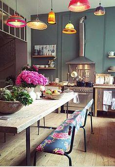 Best Bohemian Kitchen Design Idea Home Decor Ideas Decorations DIY Home Make Over Furniture Eclectic Kitchen, Eclectic Decor, Kitchen Decor, Kitchen Design, Bohemian Kitchen, Kitchen Ideas, Kitchen Planning, Kitchen Rustic, Stylish Kitchen
