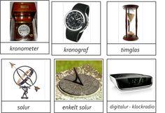 Olika sorters klockor och sätt att mäta tid -beställning