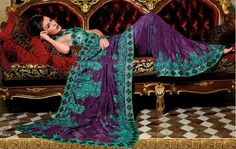 Sumptuous Sari. That turquoise and purple color pairing reminds me of peacocks.