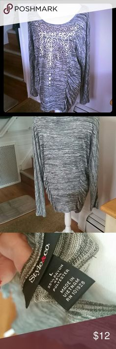 Style & Company Silver & Gray Rouche Print Top Cute with jeans gently worn pretty top with silver emblem and Rouching on both sides. Style & Co Tops Blouses