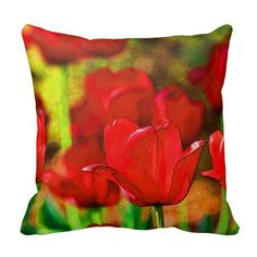 Abstract Red Tulips Pillow
