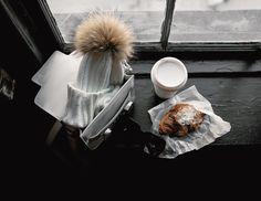 Feeling wonderfully wintery ❄ . More at my IG @zhours | #ootd #photooftheday #lotd #fblogger #streetstyle #wiw #ootn #时尚 #街拍 #일상 #데일리룩 #snow #winterwhites #aotd #windowsill #flatlay #beanie #fur #croissant #coffee