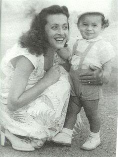 "Holocaust survivor Flora ""Florence"" Klein, with her little boy, Chaim (AKA Gene Simmons). Israel, ca. 1950"