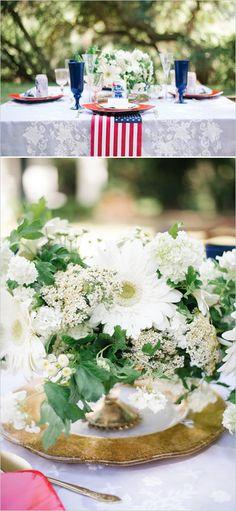 Fresh white floral centerpiece. #weddingchicks #centerpiece Captured By: Jenna Bechtholt Photography http://www.weddingchicks.com/2014/06/17/patriotic-summer-lovin-wedding/