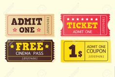Vintage Cinema Tickets. On Movie Or To Theatre? Use My Tickets!.. Royalty Free Cliparts, Vectors, And Stock Illustration. Image 4972137.