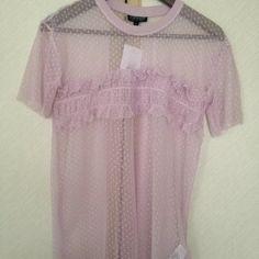 c9895bb7b16d Brand new Women s top shop pink lilac mesh top spot detail 6 - Depop