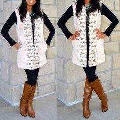 Flying Tomato Boho 70's Ivory Faux Fur Vest Aztec Embroidery Long Length Pockets #FlyingTomato