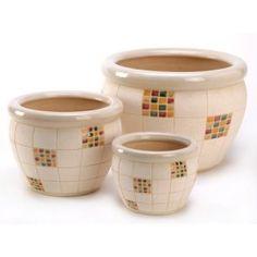 Ceramic Checker Design Planter Pots Trio Set for sale online